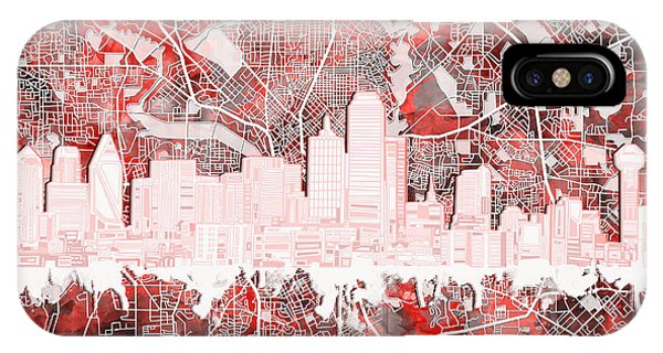 Dallas Skyline Map Red 2 IPhone Case