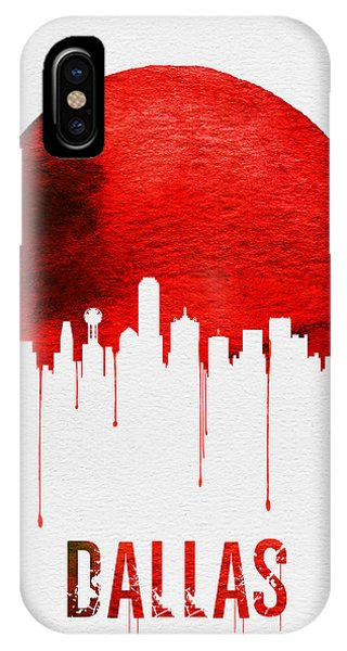 University iPhone Case - Dallas Skyline Red by Naxart Studio