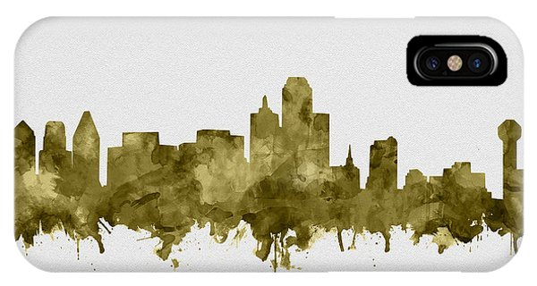 Dallas Skyline Sepia IPhone Case