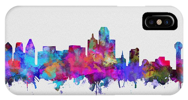 Dallas Skyline Watercolor 4 IPhone Case