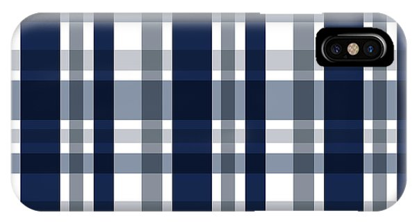 Dallas Sports Fan Navy Blue Silver Plaid Striped IPhone Case