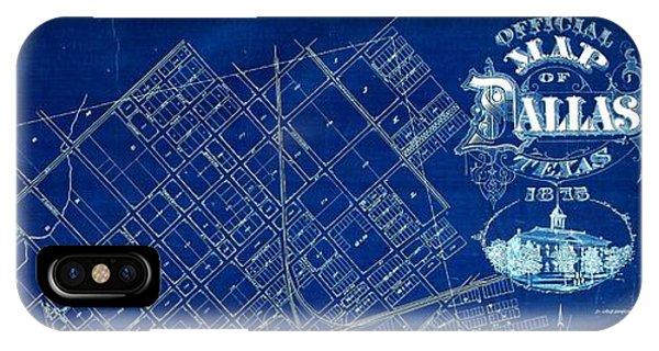 Dallas Texas Official 1875 City Map Blueprint Butterfield And Rundlett IPhone Case