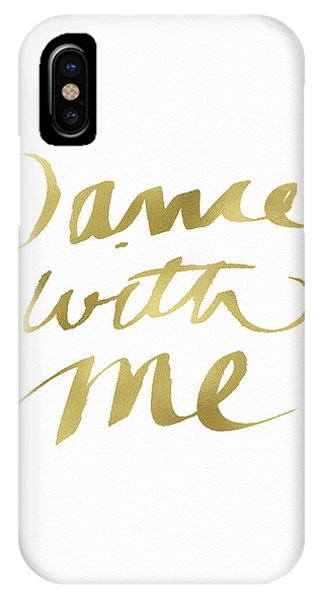 Valentines Day iPhone Case - Dance With Me Gold- Art By Linda Woods by Linda Woods