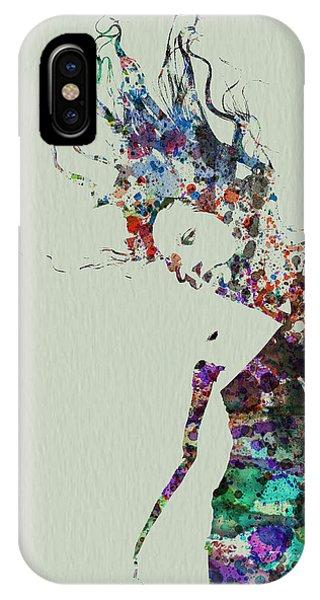 Entertaining iPhone Case - Dancer Watercolor Splash by Naxart Studio