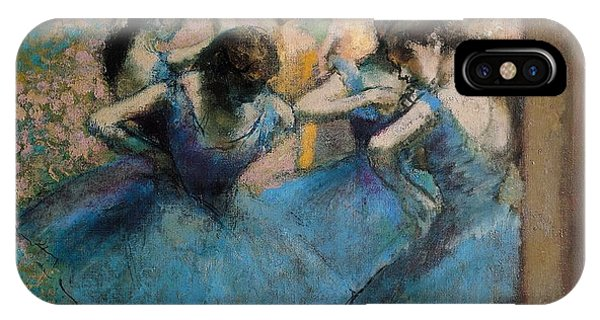 Impressionism iPhone X Case - Dancers In Blue by Edgar Degas