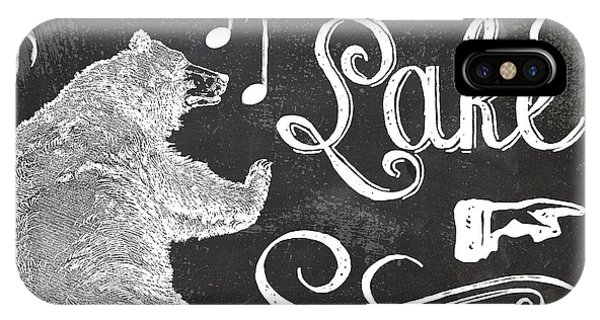 Lake iPhone X Case - Dancing Bear Lake Rustic Cabin Sign by Mindy Sommers