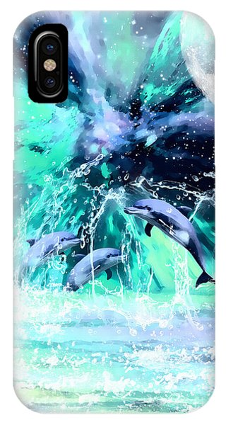 Dancing Dolphins Under The Moon IPhone Case