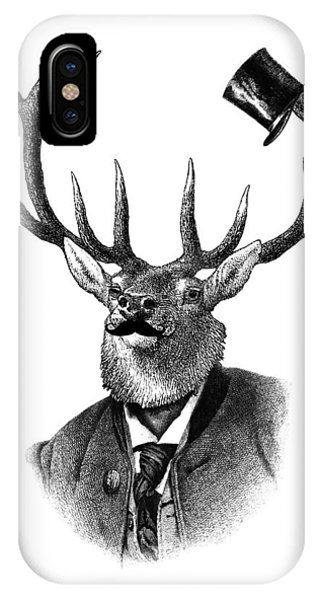 Stag iPhone Case - Dandy Deer Portrait by Madame Memento