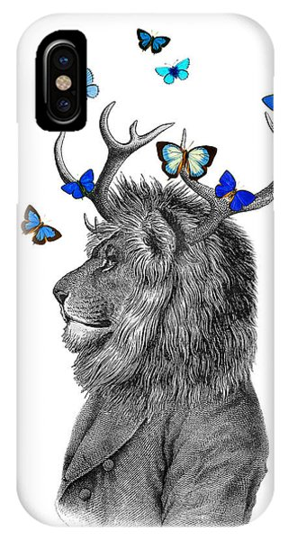 Stag iPhone Case - Dandy Lion With Antlers And Blue Butterflies by Madame Memento