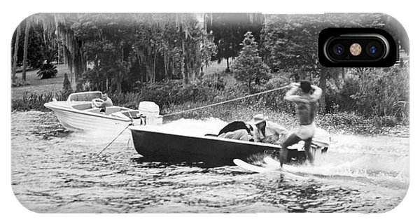 Powerboat iPhone Case - Dangerous Water Skiing by Underwood Archives