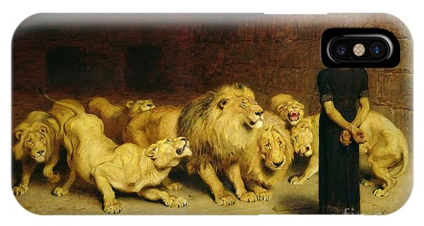 Lions iPhone Case - Daniel In The Lions Den by Briton Riviere