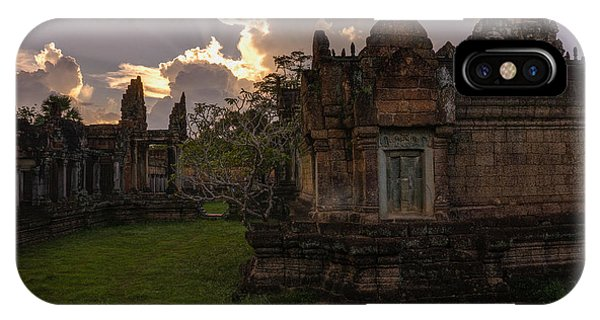 Cambodia iPhone Case - Dark Cambodian Temple by Mike Reid