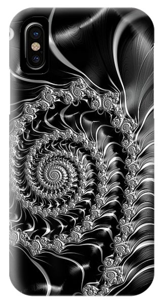 Dark Spirals - Fractal Art Black Gray White IPhone Case