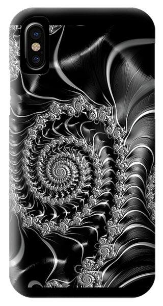 Dark Spirals - Fractal Art Black Gray White IPhone Case