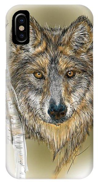 Dark Wolf With Birch IPhone Case