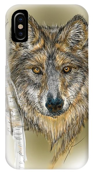 Dark Wolf With Birch IPhone Case
