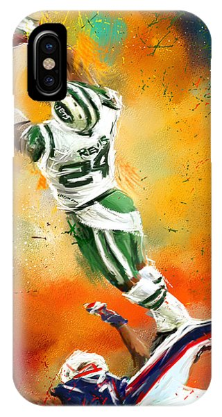 Running Back iPhone Case - Darrelle Revis Action Shot by Lourry Legarde