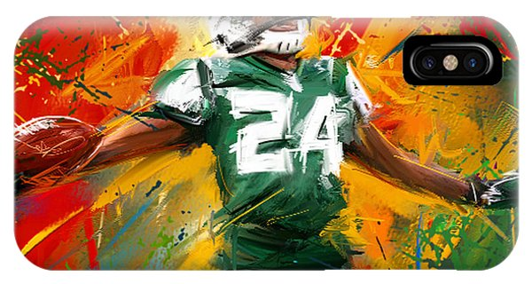 Running Back iPhone Case - Darrelle Revis Colorful Portrait by Lourry Legarde