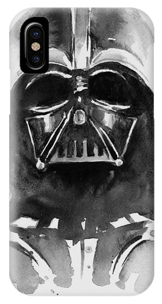 Black And White iPhone X Case - Darth Vader Watercolor by Olga Shvartsur