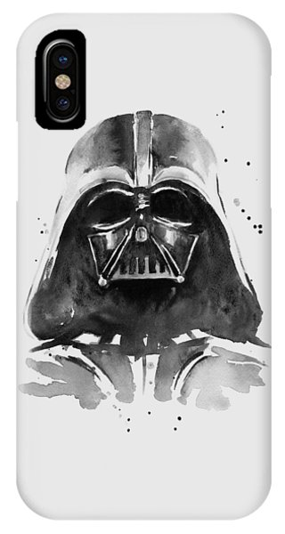 Great White Shark iPhone Case - Darth Vader Watercolor by Olga Shvartsur