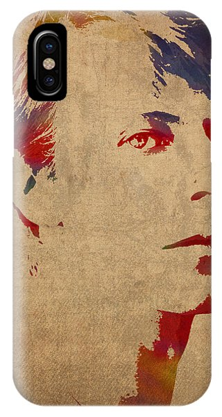 David Bowie Rock Star Musician Watercolor Portrait On Worn Distressed Canvas IPhone Case