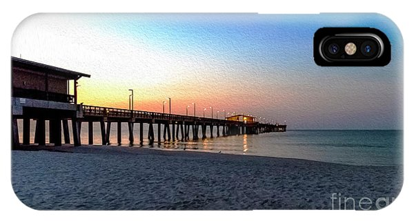 Dawn At Gulf Shores Pier Al Seascape 1283a Digital Painting IPhone Case