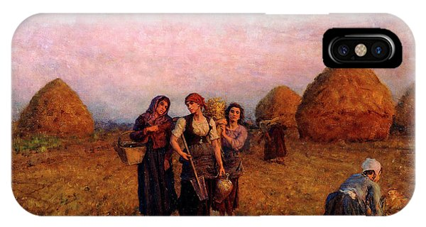At Work iPhone Case - Dawn Labor, 1900 by Jules Breton