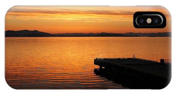Dawn On The Water At Dusavik IPhone Case