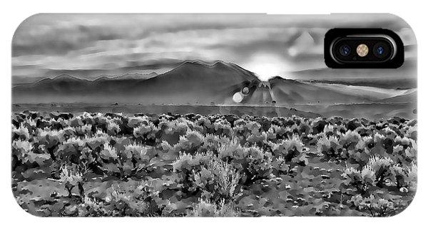 Dawn Over Magic Taos In B-w IPhone Case