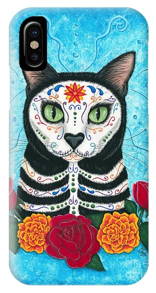 Day Of The Dead Cat - Sugar Skull Cat IPhone Case
