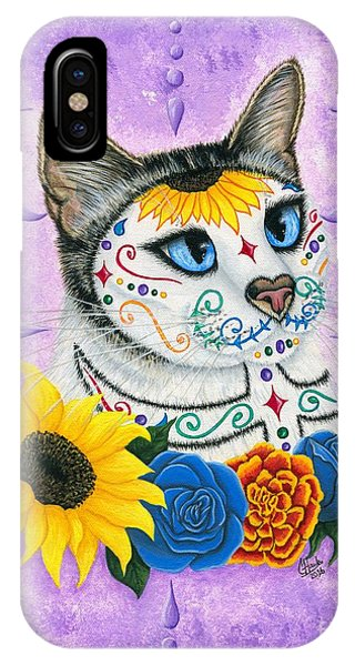 Day Of The Dead Cat Sunflowers - Sugar Skull Cat IPhone Case