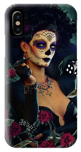 Bone iPhone Case - Dead Lucky Sugar Doll by Shanina Conway