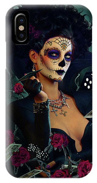 Gothic iPhone Case - Dead Lucky Sugar Doll by Shanina Conway