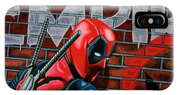 20th iPhone Case - Deadpool Painting by Paul Meijering
