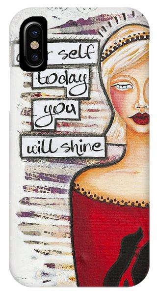 Dear Self Today You Will Shine Inspirational Folk Art IPhone Case