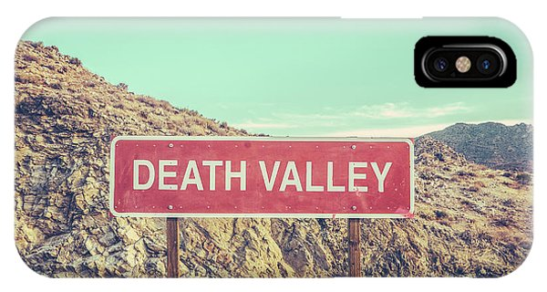 Death Valley iPhone Case - Death Valley Sign by Mr Doomits