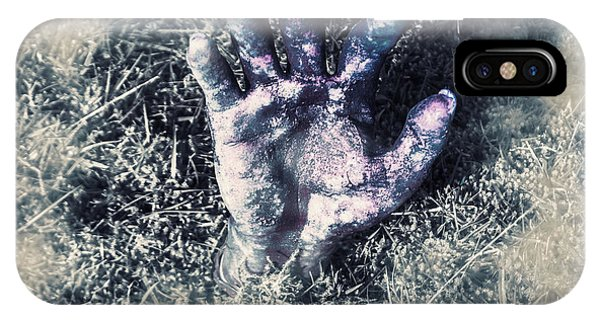 Anguish iPhone Case - Decaying Zombie Hand Emerging From Ground by Jorgo Photography - Wall Art Gallery