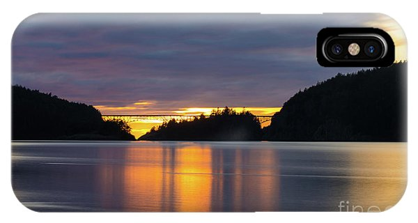 Whidbey iPhone Case - Deception Pass Bridge Sunset Reflection by Mike Reid