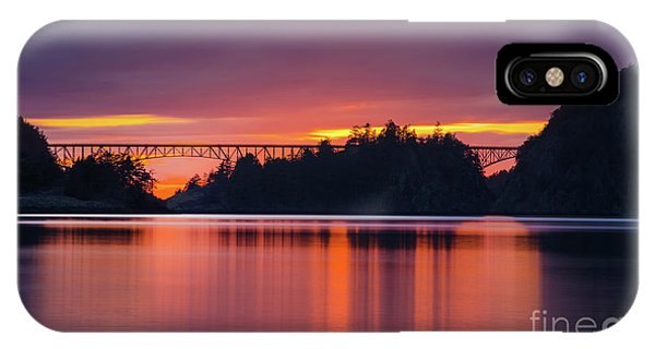 Whidbey iPhone Case - Deception Pass Bridge Sunset Serenity by Mike Reid