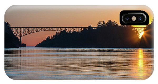 Whidbey iPhone Case - Deception Pass Bridge Sunset Sunstar by Mike Reid