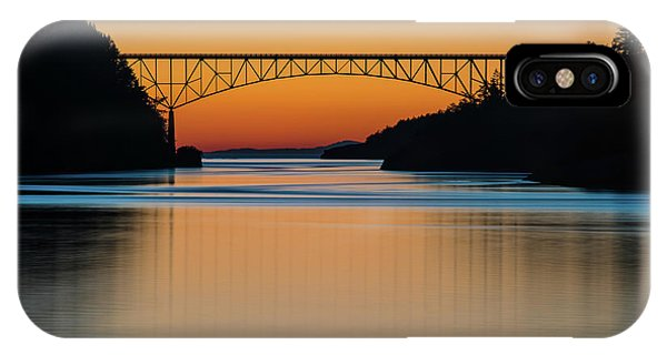 Whidbey iPhone Case - Deception Pass Bridge Sunset Tranquility by Mike Reid