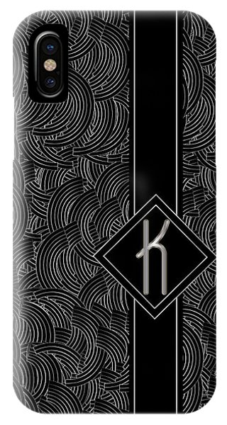 Deco Jazz Swing Monogram ...letter K IPhone Case