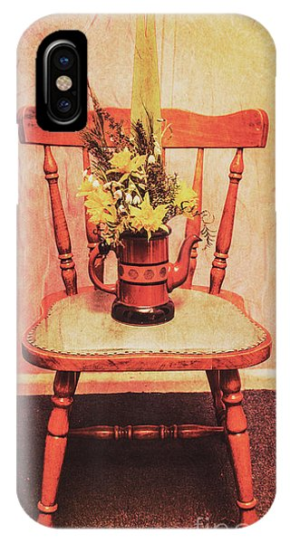 Old Fashioned iPhone Case - Decorated Flower Bunch On Old Wooden Chair by Jorgo Photography - Wall Art Gallery
