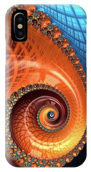 IPhone Case featuring the digital art Decorative Fractal Spiral Orange Coral Blue by Matthias Hauser