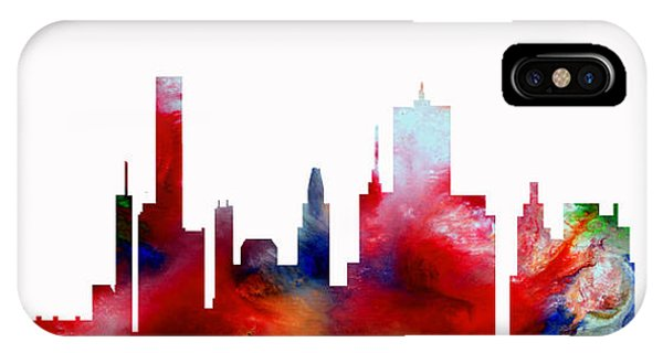 IPhone Case featuring the painting Decorative Skyline Abstract  Houston T1115d by Mas Art Studio