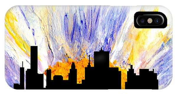 IPhone Case featuring the painting Decorative Skyline Abstract  Houston T1115v1 by Mas Art Studio