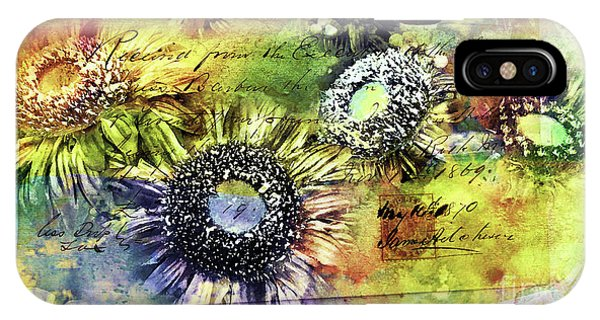 IPhone Case featuring the painting Decorative Sunflowers Mixed Media A772016  by Mas Art Studio