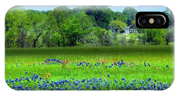 Decorative Texas Homestead Bluebonnets Meadow Mixed Media Photo H32517 IPhone Case