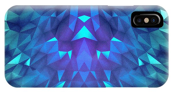 Illusion iPhone Case - Deep Blue Collosal Low Poly Triangle Pattern  Modern Abstract Cubism  Design by Philipp Rietz