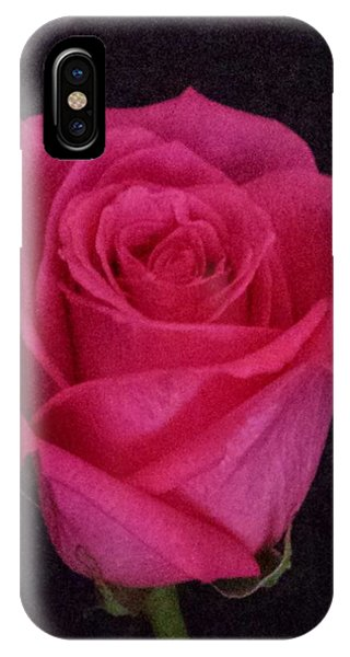 Deep Pink Rose On Black IPhone Case